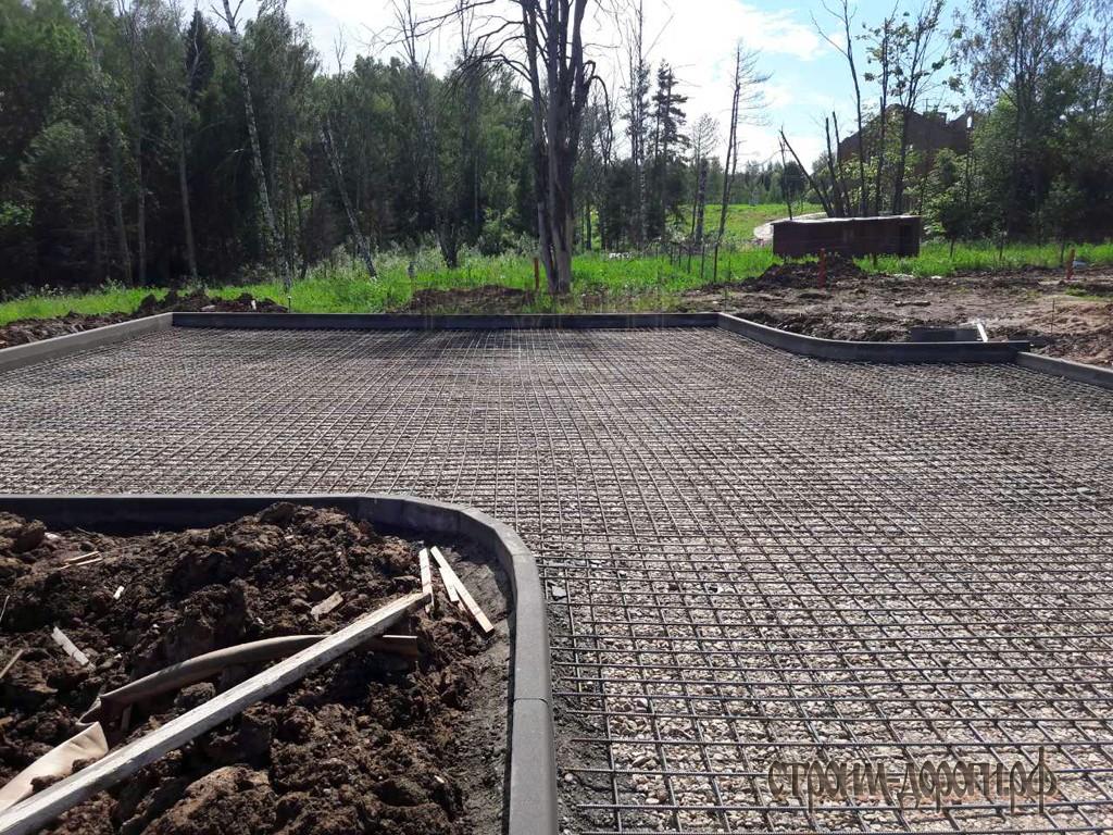 Устройство бетонного основания толщиной 10 см с армированием дорожной сеткой